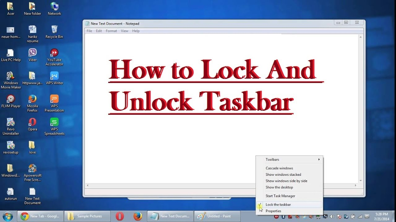 windows 10 lock the taskbar