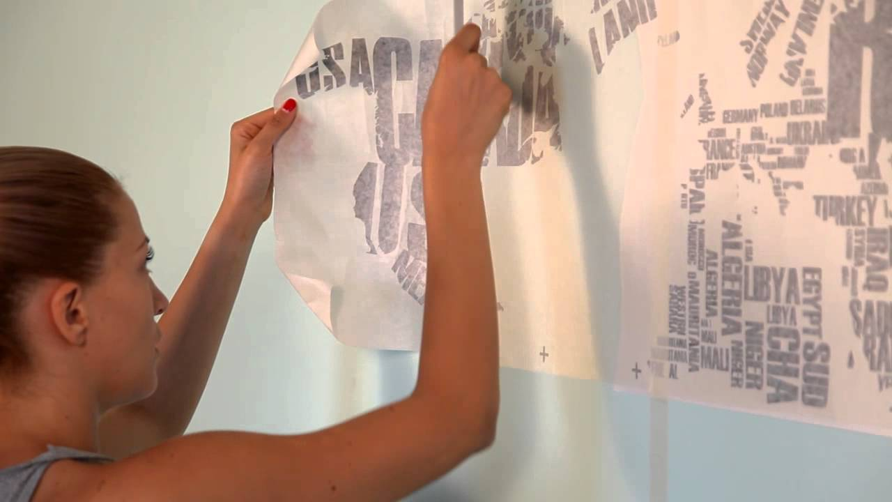 & How to Apply: Map of the World Wall Decal by www.cutzz.com - YouTube