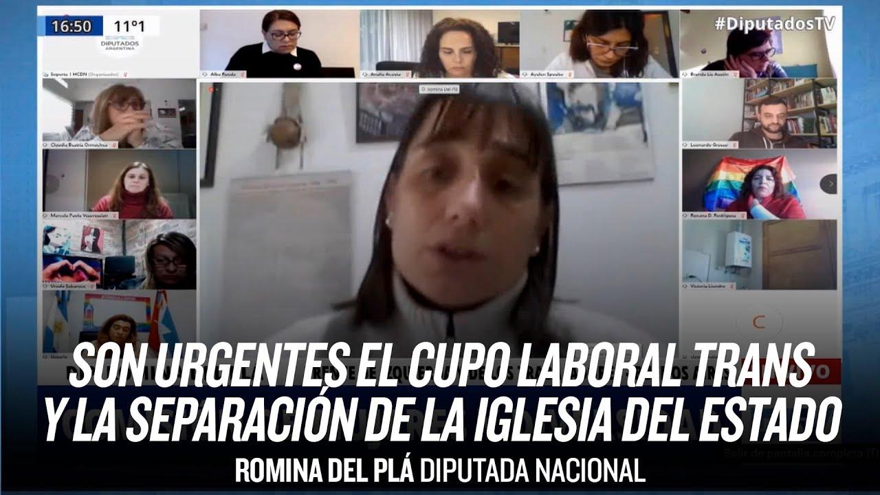 Son urgentes el cupo laboral trans y la separación de la iglesia del Estado // Romina Del Pla