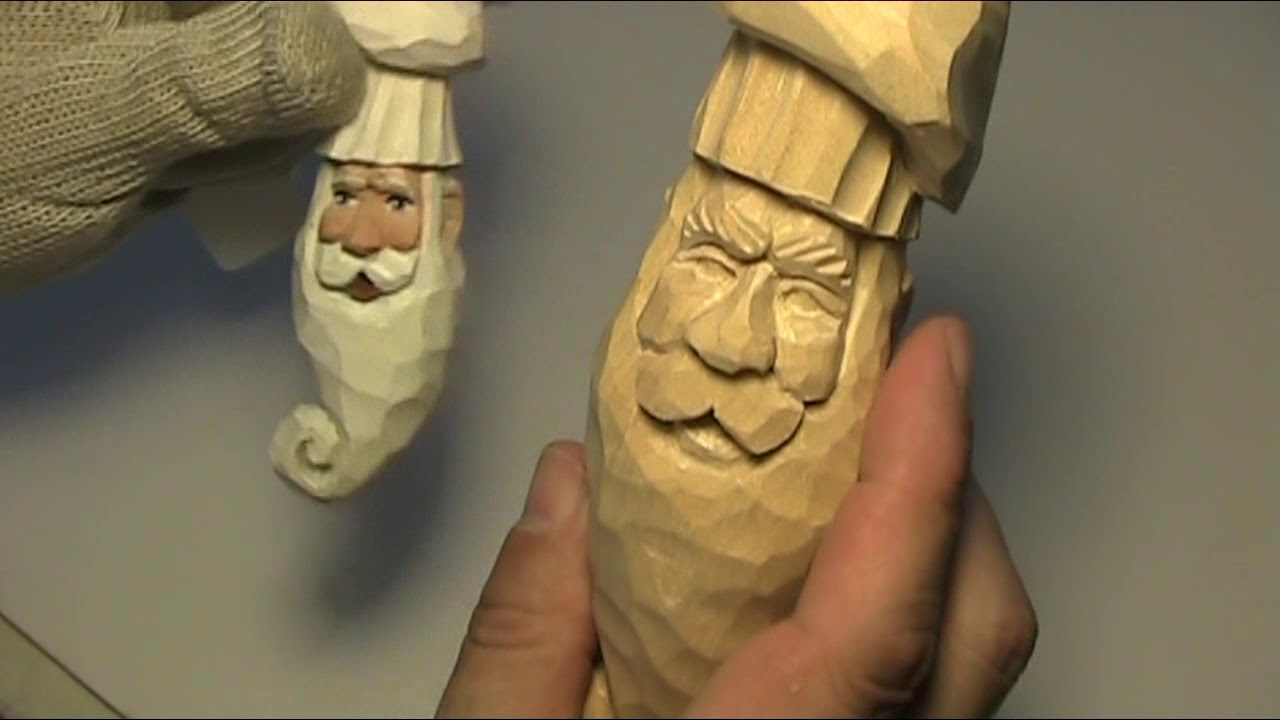 Carving a santa head ornament prt7 youtube