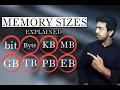 Explain Computer Memory Sizes Bit, Byte, Kb, Mb, Gb,Tb, Pb