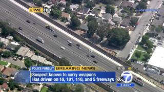 Police Pursuit - Criminal Suspect Wanted with Assault Rifle Part 1 SoCal June 09, 2014