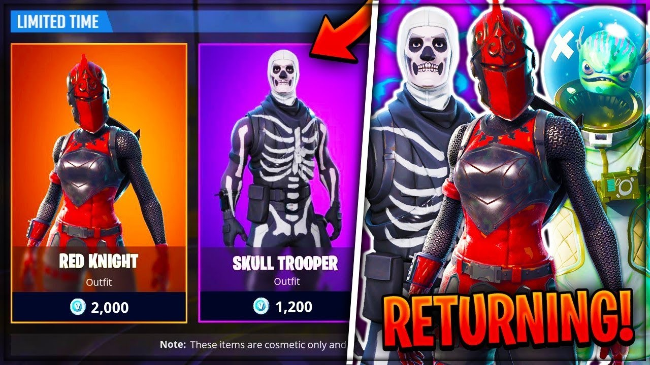 Old Skins Are Returning To Fortnite Red Knight Skull Trooper