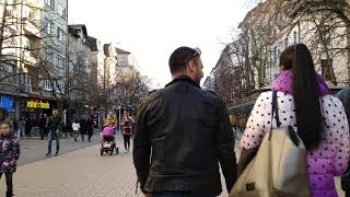 Walk through Sofia Bulgaria (Vitosha str.) 04.03.2019