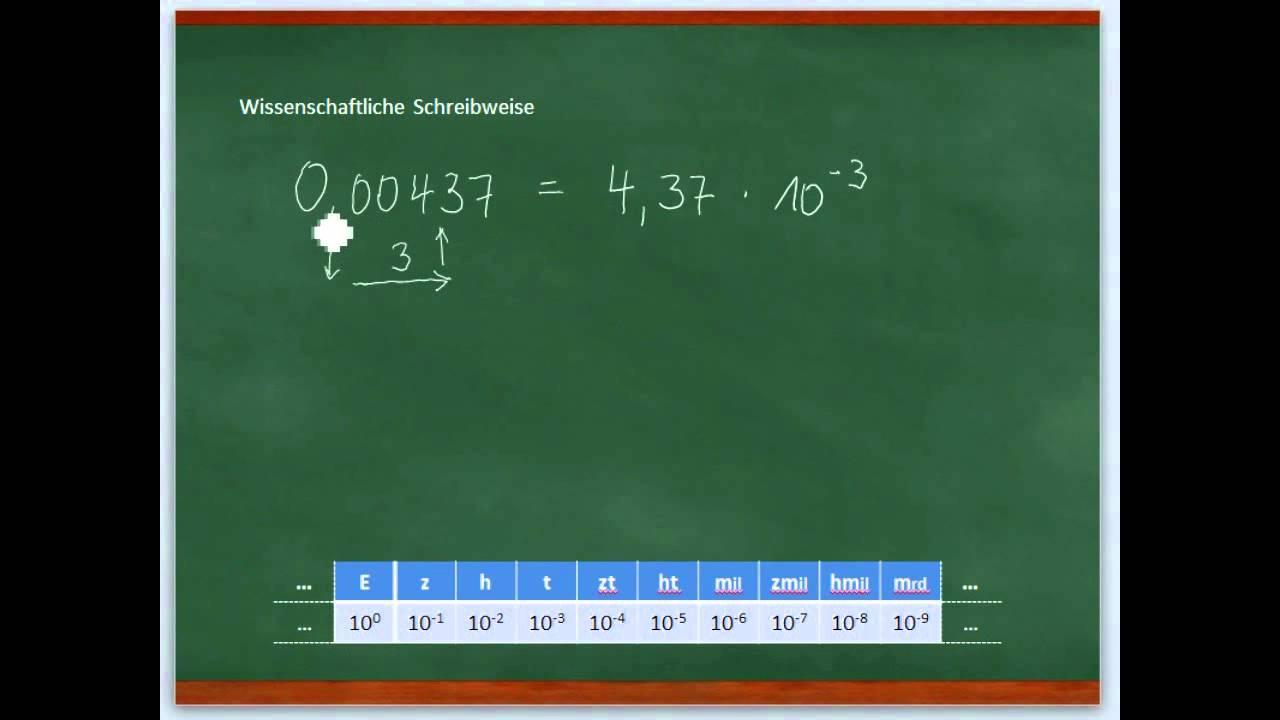 Kleine Zahlen in der wissenschaftlichen Schreibweise - YouTube