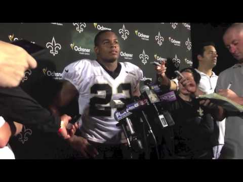 New Orleans Saints running back Pierre Thomas talks after Wednesday