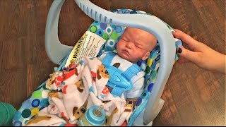 Reborn Baby Carter tries our new Joovy Doll Car Seat