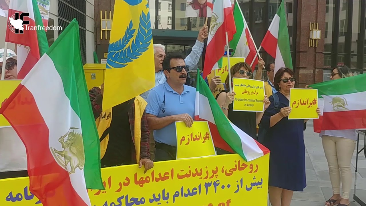 Exiled Iranians protest against Rouhani's trip to Switzerland