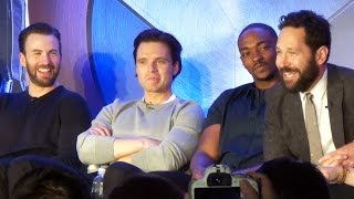Captain America Civil War Team Cap Press Conference w/ Chris Evans, Kevin Feige, Paul Rudd +