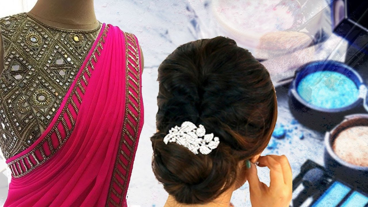 Party Style Saree Draping Tutorial With Makeup And Hairstyle Step By