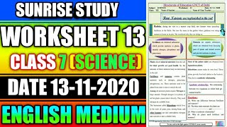 Worksheet no 13 Date 13-NOV-2020 Class 7 th Sub - SCIENCE ENGLISH MEDIUM DOE CBSE NCERT