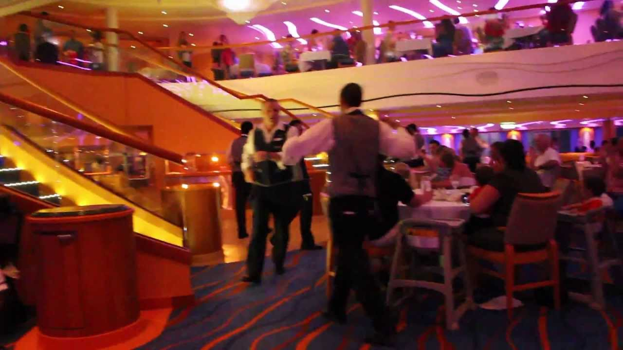 Carnival Breeze Sapphire Dining Room Waiters Dancing Youtube