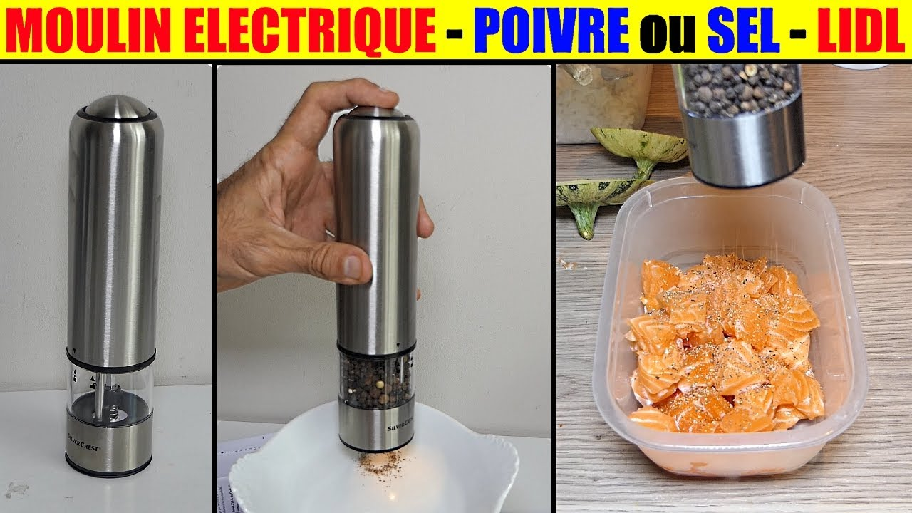 moulin poivre et sel lidl silvercrest electrique electric salt pepper mill salzoder pfeffermuhle