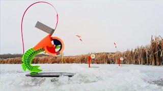 Расставил ЖЕРЛИЦЫ на ЩУКУ на БОЛОТЕ Ночью и ПОНЕСЛОСЬ Зимняя рыбалка на жерлицы