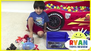 SURPRISE TOYS Giant Ball Pit Challenge Disney Cars Toys Lightning McQueen Spiderman Ryan ToysReview