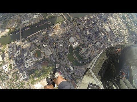 Helicopter Practice Jump into Nashville Sounds Baseball Stadium