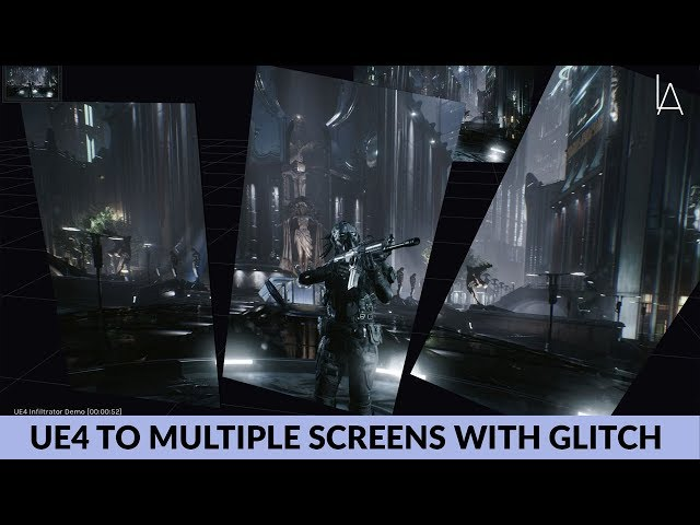 Output UE4 to Multiple Rotated Screens with OSC-based Glitch Post Fx | Lightact