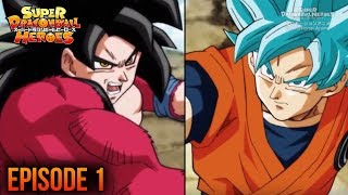 Super Dragon Ball Heroes Episode 1: Super Saiyan 4 Xeno Goku VS SSB Goku Prison Planet Review DBH