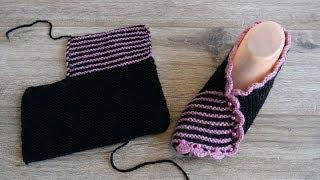 Великолепные своей простотой следки спицами | Easy slippers knitting pattern