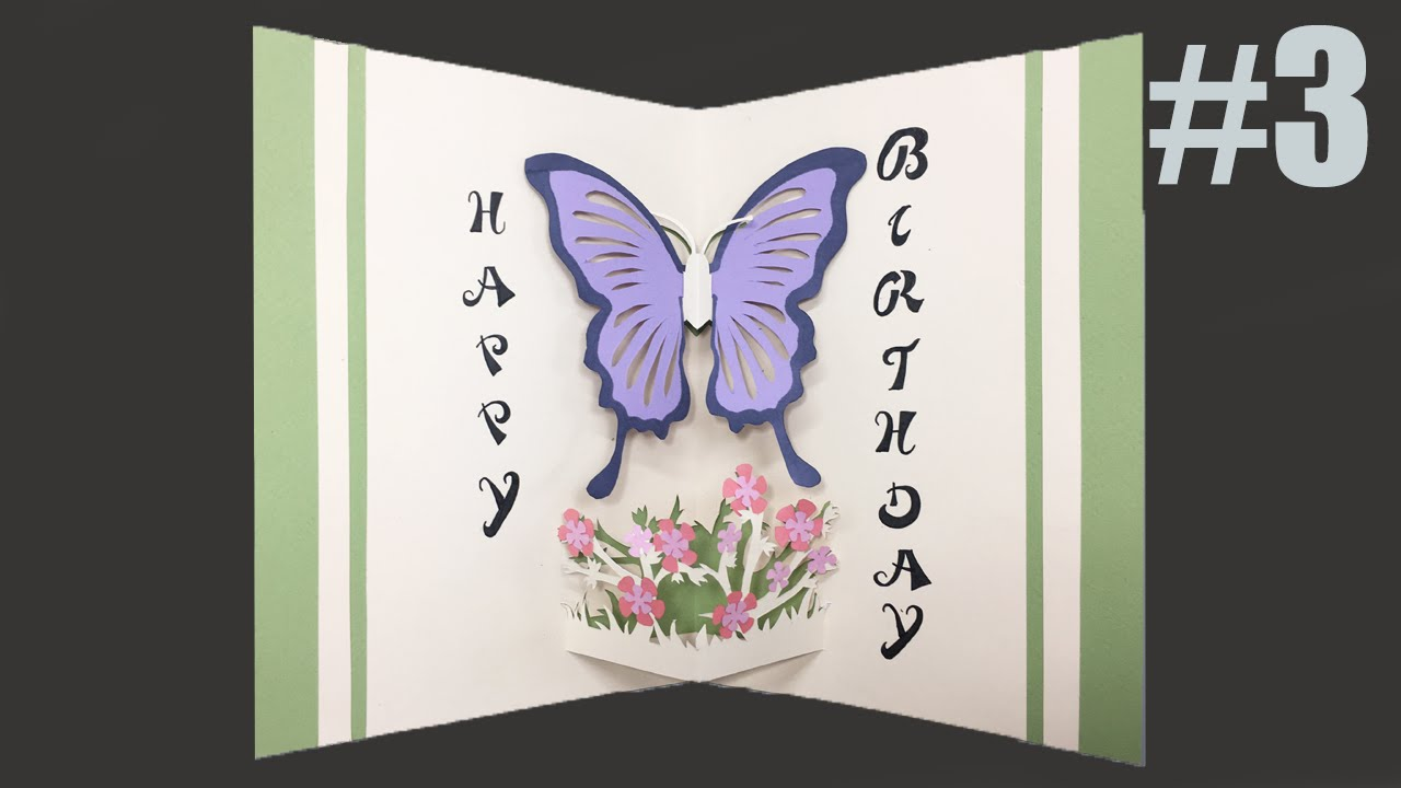Happy Birthday Card 3 Butterfly PopUp Card Tutorial YouTube – Butterfly Birthday Card