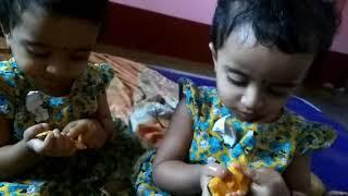 Funny  babies fighting  mango&eating mango!!twin babies!!