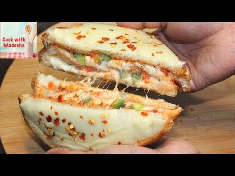 Bread Pizza Sandwich On Tawa Veg Bread Pizza Sandwich Recipe By Cook With Madeeha Youtube