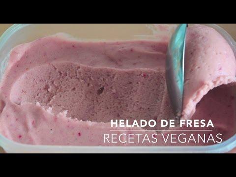Helado de fresa vegano (sin heladera, sin lactosa y sin azúcar) - Recetas veganas