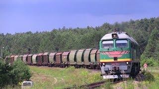 Тепловоз 2М62М-0676 с грузовым поездом / 2M62M-0676 with an empty train