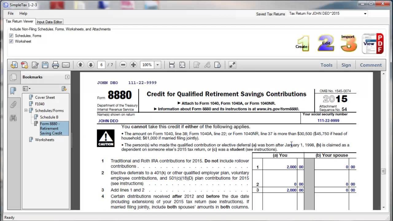 SimpleTax Form 8880 - YouTube