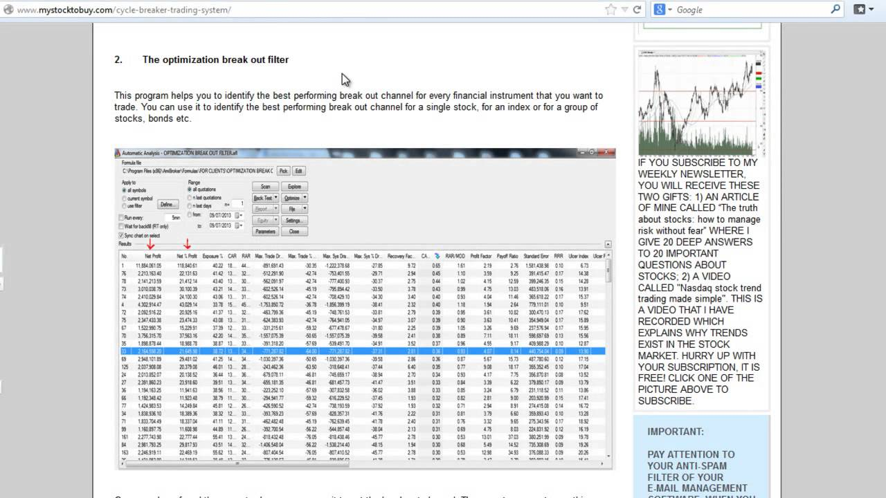 Download Stock pick/screener exploration For Amibroker (AFL)