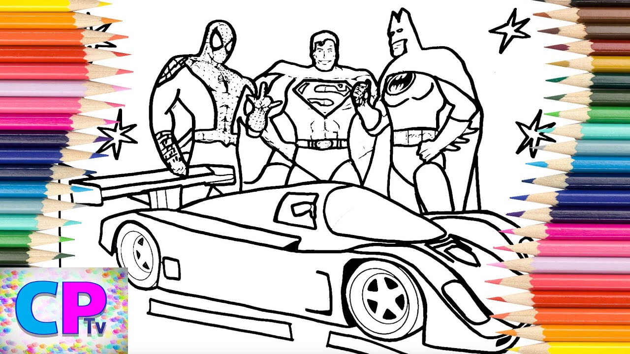 Superheroes Super Speed Coloring Pages Porsche 962 And Spiderman Superman Batman Coloring Pages Youtube