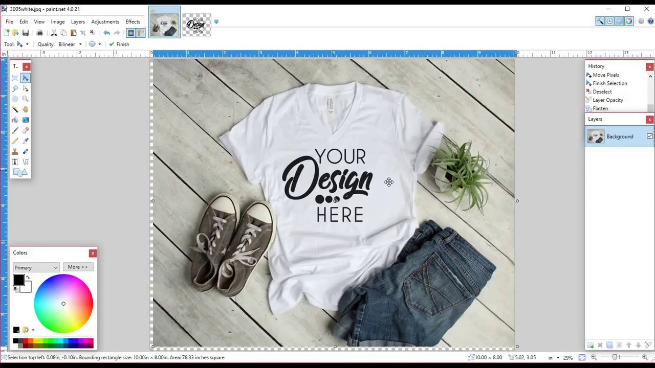 Using Paint Net To Create A T Shirt Mockup Image Youtube