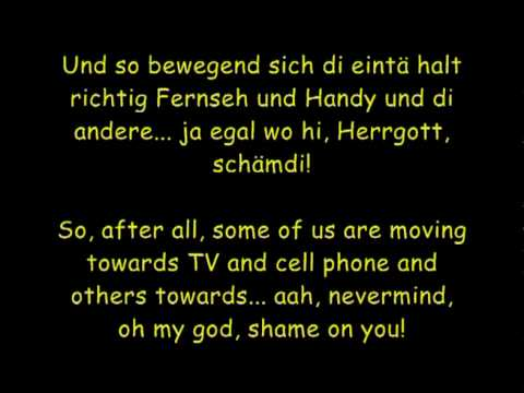 Sektion Kuchikäschtli - Monolog (with English and Swiss lyrics)