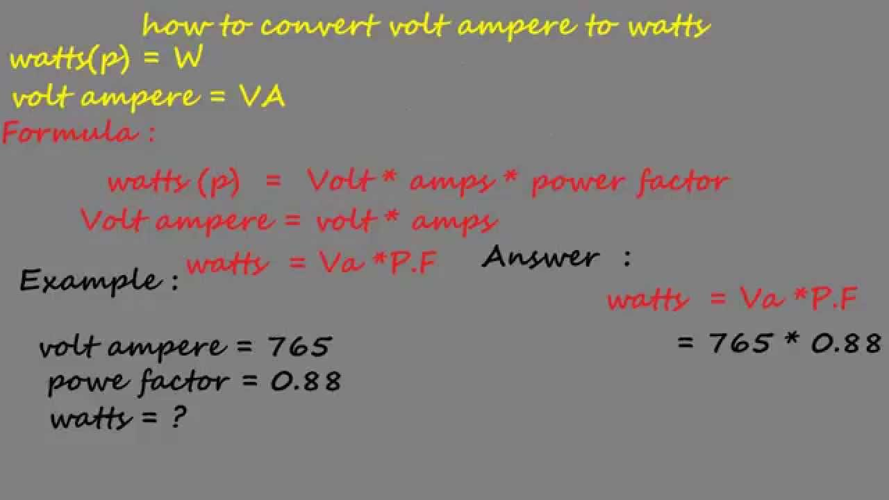 How to convert volt ampere watts electrical formulas va and  youtube also rh