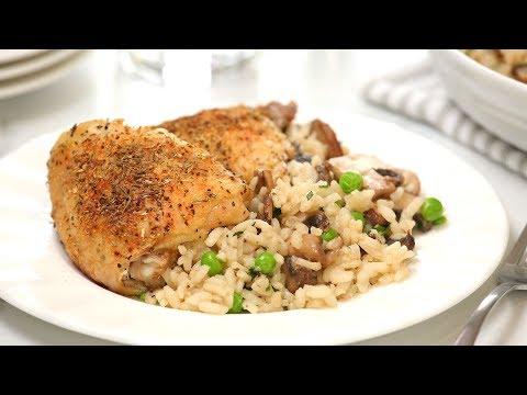 roast-chicken-with-creamy-mushroom-rice-|-quick-&-easy-dinner-recipe