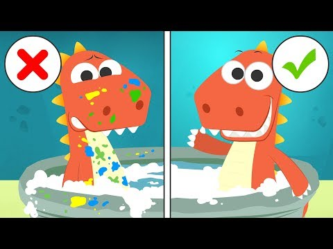 Learn with EDDIE how to Bathe 🛀 Eddie the Dinosaur Bathes after Painting