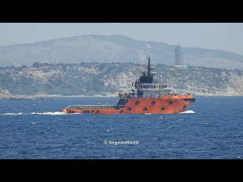 Escort & supply vessels for R/V Oruc Reis southbound Chios Strait.