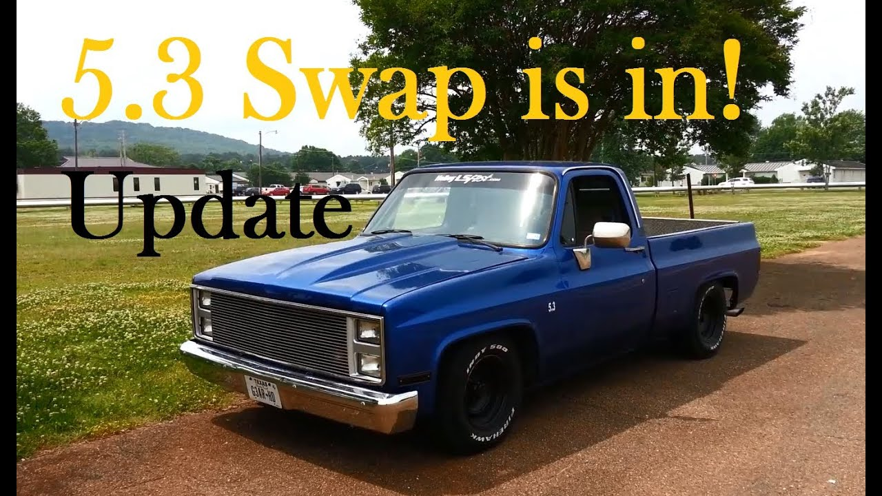 5 3 swap update its in and driving 87 chevy truck c10 r10 ls1 youtube