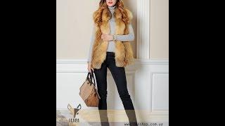 Короткий меховой жилет из рыжей лисы(Интернет-магазин женской меховой одежды