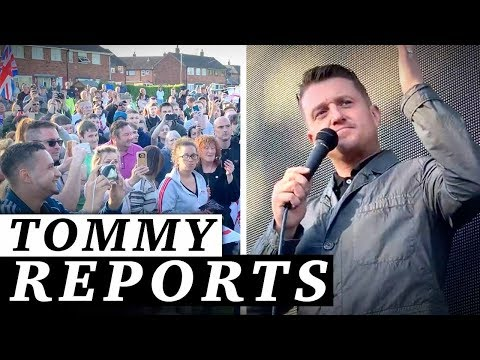 Tommy Robinson challenges reporter during campaign speech in Preston  Jessica Swietoniowski