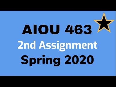 AIOU 463 Second Assignment Spring 2020 I Moalim