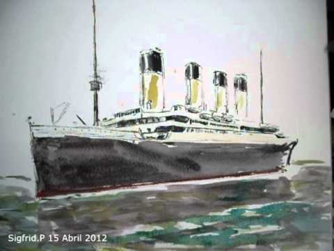 The Rms Titanic With Watercolours Speed Painting Youtube