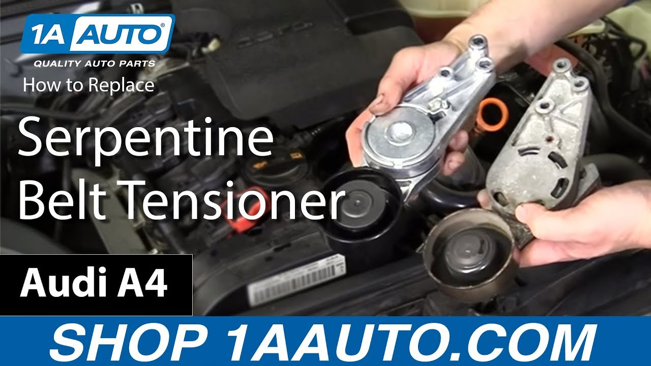 How to install replace serpentine belt tensioner 2005 08 audi a4 2 0l youtube