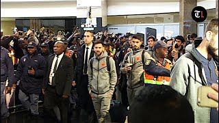 Loud cheers as barca lands in mzansi