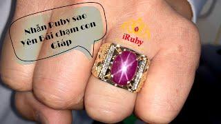 Nhẫn Nam ruby sao Hoạ Tiết con giáp 3D Nổi - Đá ruby sao nét yên Bái của a khách BĐS - IRUBY