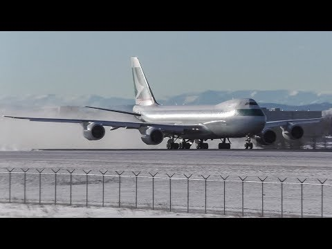 Snow Blast! Cathay Pacific Cargo 747-867F [B-LJL] Takeoff from Calgary Airport