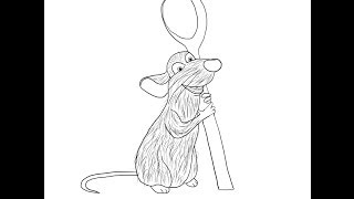 Ratatouille (film) Remy rat How to draw a easy? Рататуй крысенок Реми Как нарисовать?