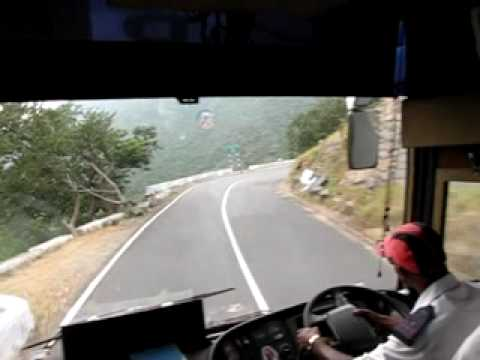 Airawat Volvo B7R at its best in Dhimbam Ghat Hairpin bend