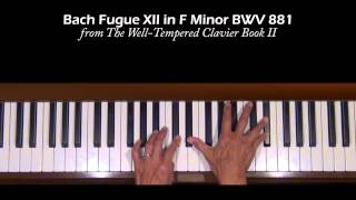 Bach Fugue No.12  in F Minor WTC II Piano Tutorial