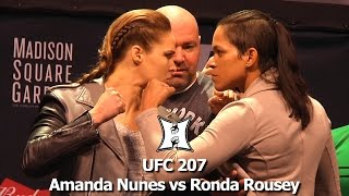 UFC 207's Ronda Rousey + Amanda Nunes Share Intense Staredown At UFC 205 Weigh-Ins